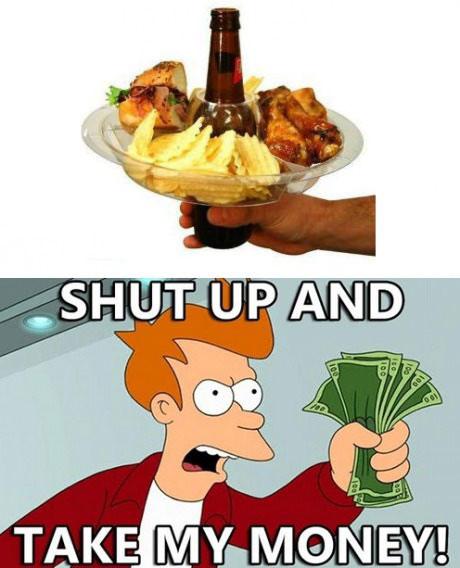 fry, futurama, shut up and take my money, beer, plate