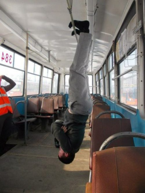 bus, upside down, wtf