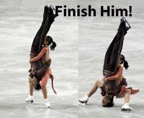 men, woman, finish him, ice, figure skating, fail
