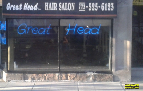 great head hair salon, awkward name, suggestive