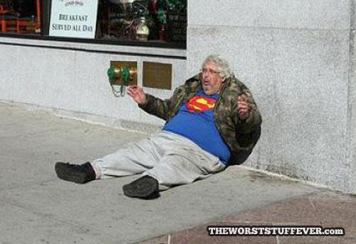 homeless, superman, worst, hobo