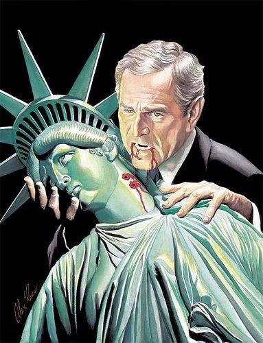 george bush, vampire, statue of liberty