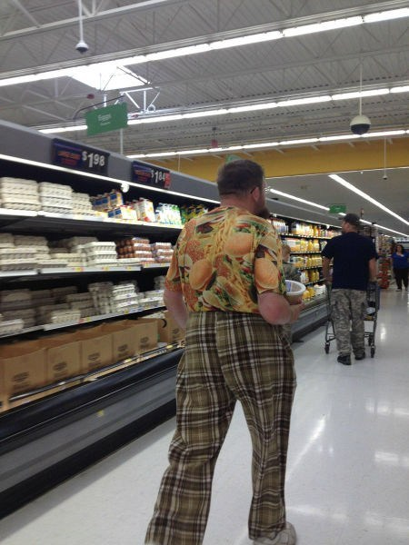 poorly dressed, plaid, hawaiian shirt