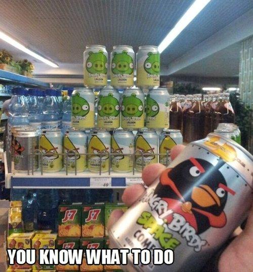 angry bird, can, soda, drink, pyramid