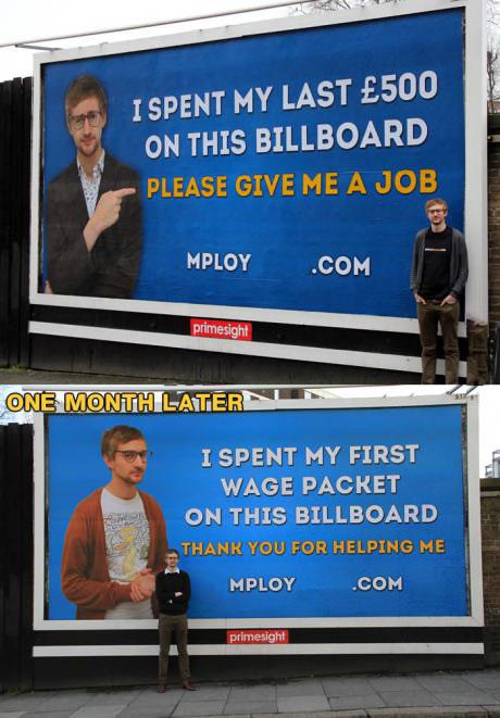 billboard, job hunting, lol