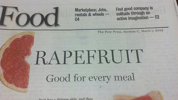 newspaper, ad, fail, rapefruit