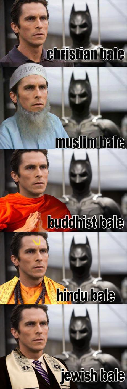 christian bale, religion, muslim, buddhist, jewish, wordplay