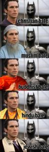 christian bale, religion, muslim, buddhist, jewish, wordplay
