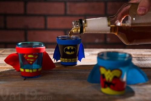 shot glasses, super heros, theme