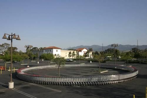 shopping cart, circle, parking lot
