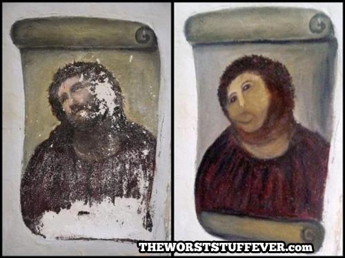 art, jesus, restoration, painting, fail