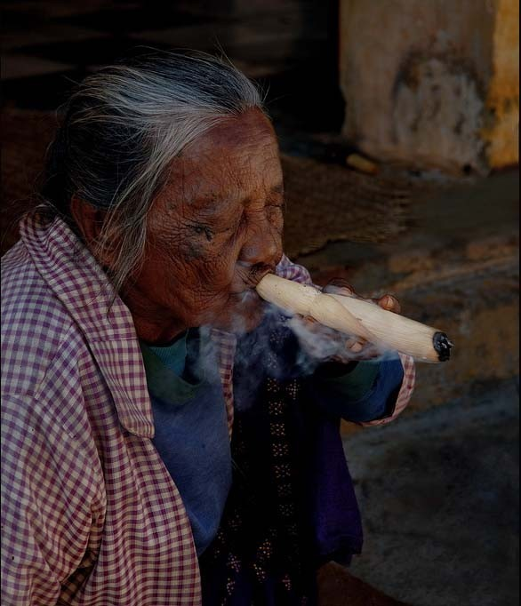 elderly, old woman, smoking