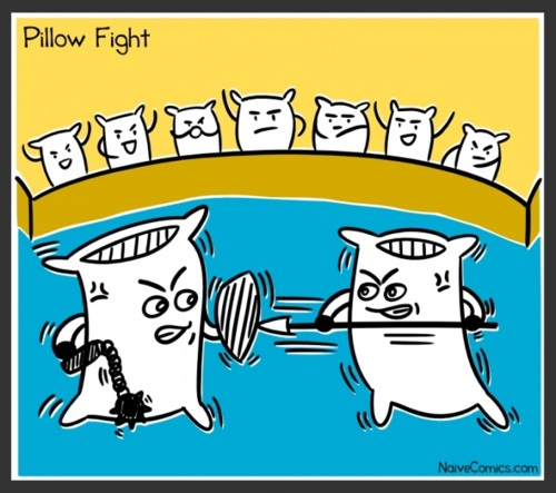 pillow fight, literal, comic