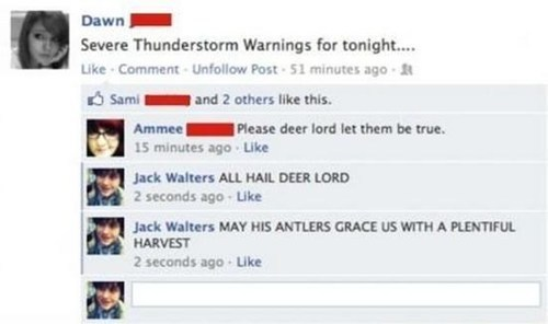 spelling, facebook, deer lord, severe weather warning