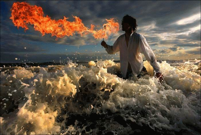 water, fire breather, cool
