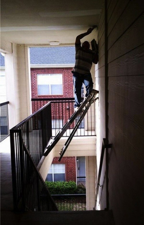 ladder, stairs, paint, unsafe, stupid