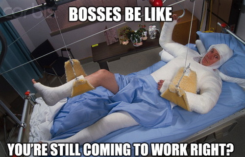 bosses be like, you are still coming to work right?