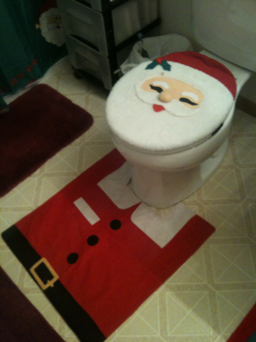 satan claus, bathroom, rug, toilet seat cover