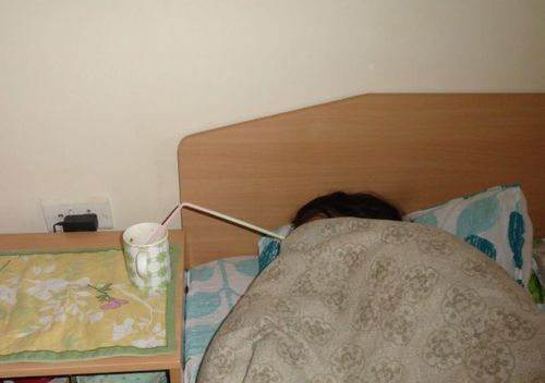 bed, lazy, straw, drink