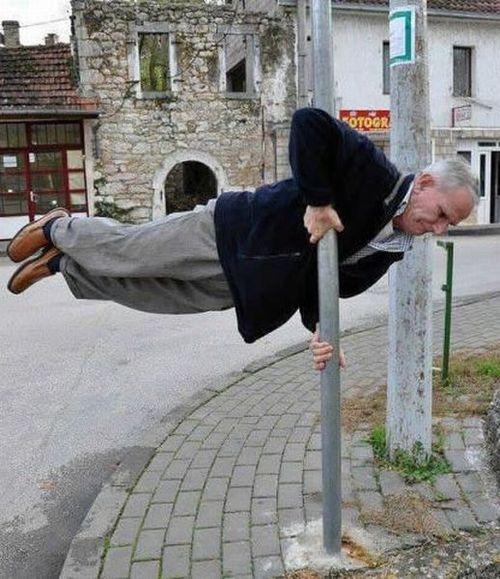 elderly, planking, pole dancer