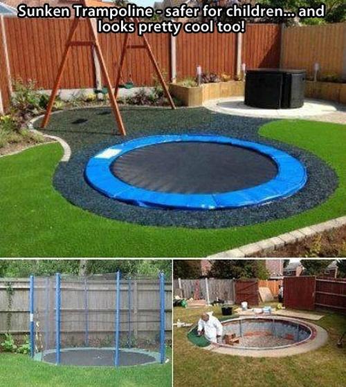 sunken trampoline, kids, park, win