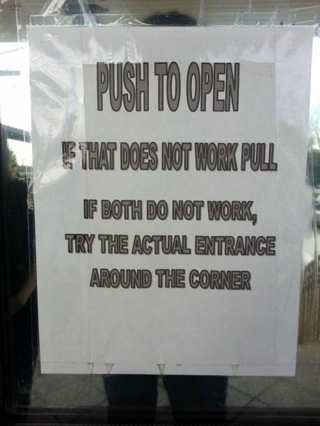 sign, door, troll, pull, push, entrance
