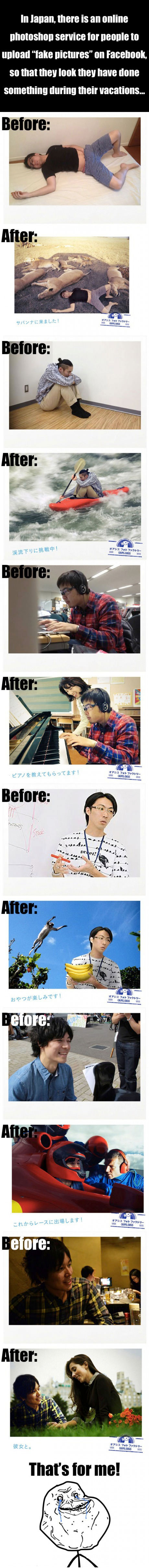 japan, photoshop, service, fake, facebook, before, after