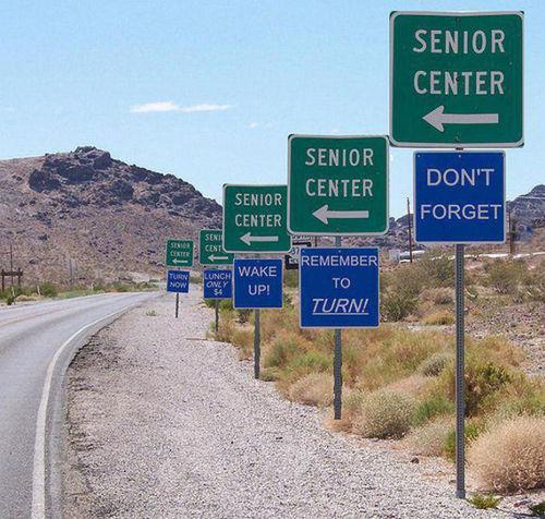 road signs, senior center, ocd