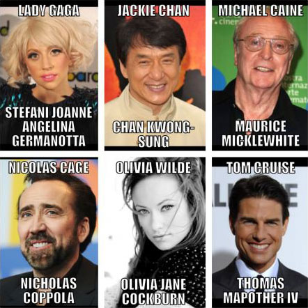 actors, stars, real names, lady gaga, jackie chan, michael caine, nicolas cage, olivia wilde, tom cruise