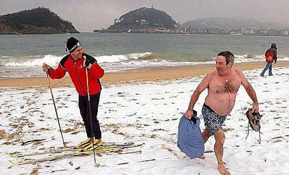 cross country skiing, beach, snow, swimming, lol