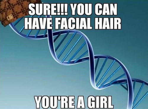 meme, facial hair, woman, scumbag genetics
