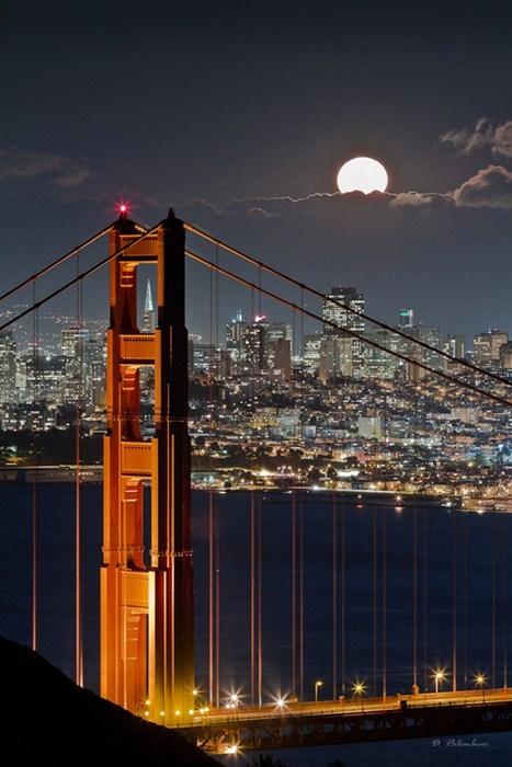 moon, san francisco, city scape