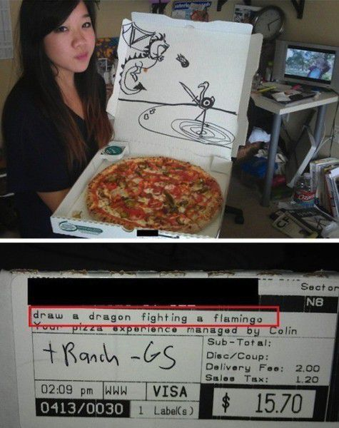 pizza, drawing, requests, cut, delivery