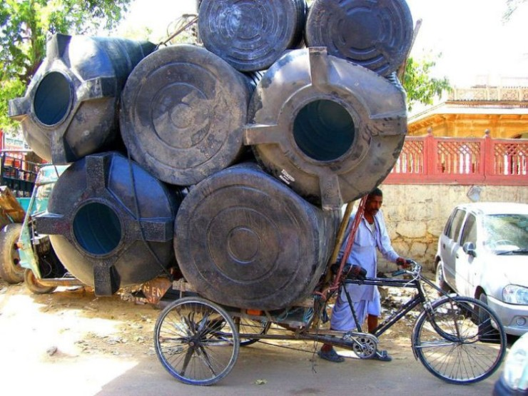 bicycle, overloaded, barrels, bike