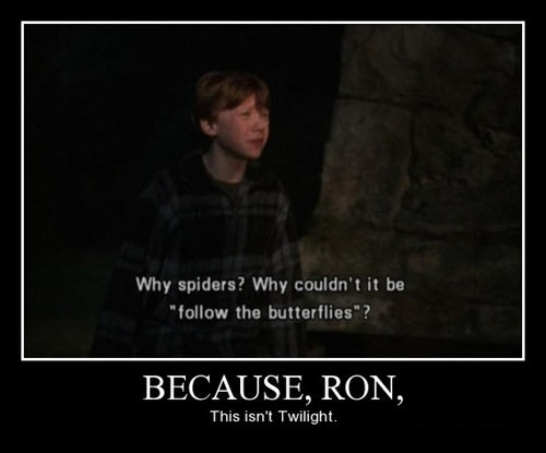 why spiders why couldn't it be follow the butterflies?, because ron this isn't twilight, harry potter, motivation