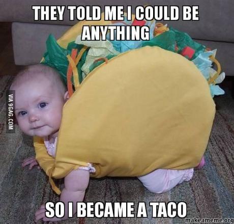 baby, costume, taco, meme
