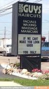 hair cut, guys, ugly, sign