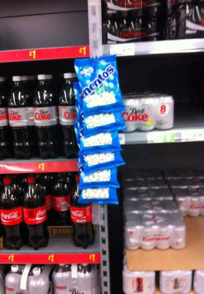coca cola, mentos, product placement