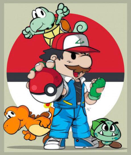 pokemon, mario brothers, mashup, versus, fan art