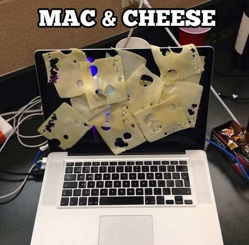 mac and cheese, literal, swiss cheese on a macbook, lol