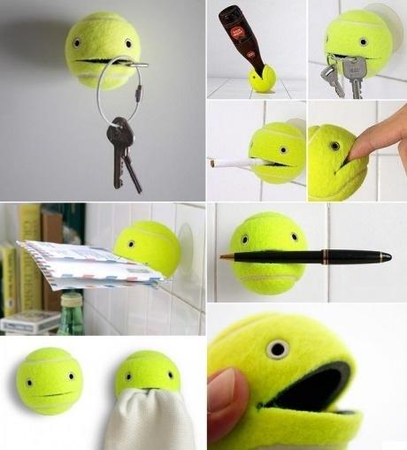 life hack, tennis ball, keys, mail, dyk