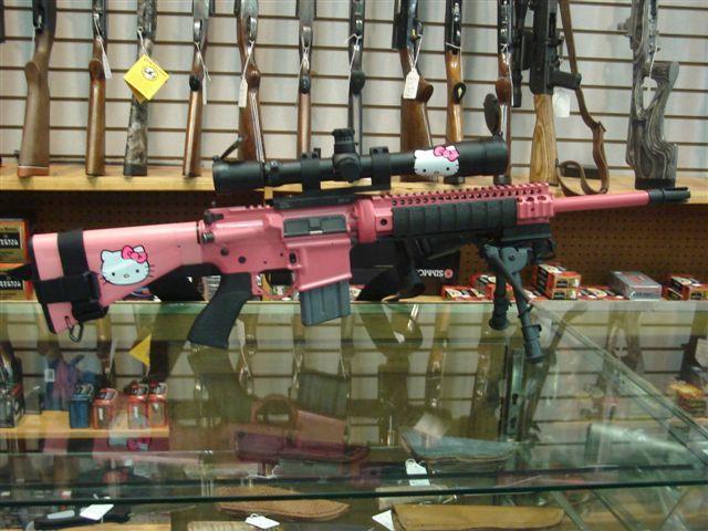 rifle, gun, hello kitty, pink, wtf