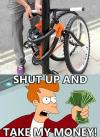 fry, futurama, shut up and take my money, bicycle, lock, product