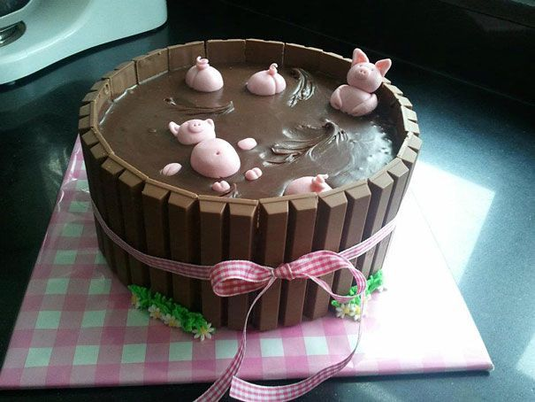 cake, pigs, pool, chocolate, art, win
