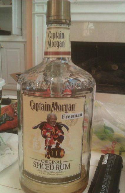 captain morgan freeman, rum, hacked irl, bottle, alcohol