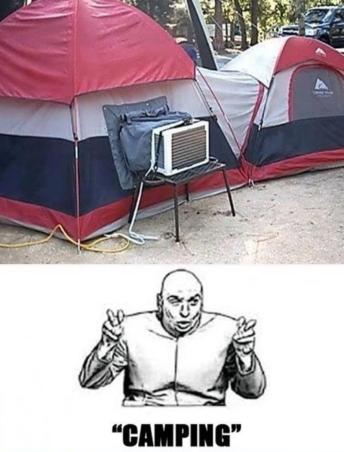 tent, air conditioner, dr evil, camping