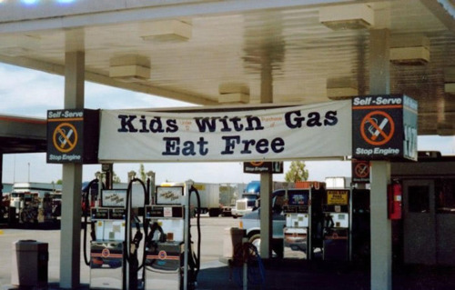 gas station, promotion, wording, fail, kids, eat free