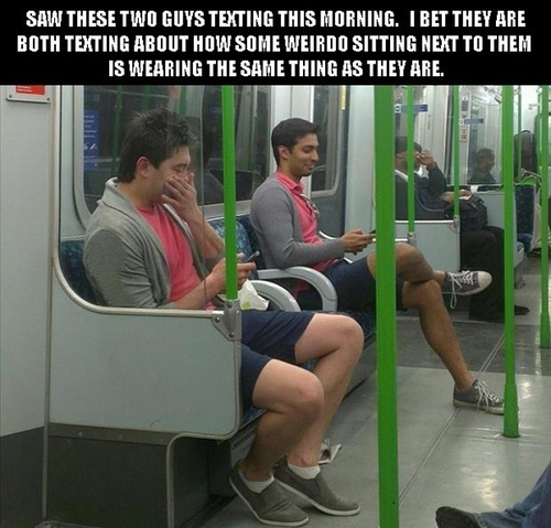 public transport, clothes, same, twins, story