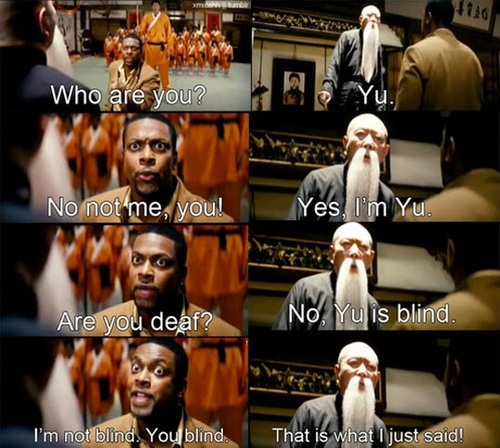 rush hour, yu, name, wordplay, deaf, blind, chris tucker