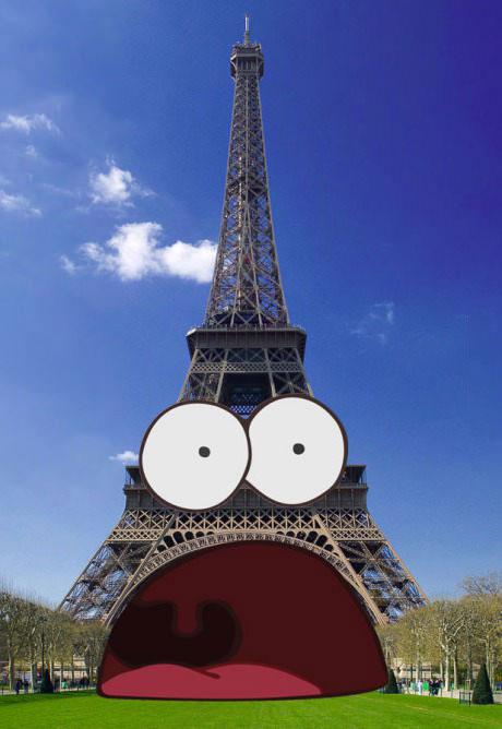 photoshop, eiffel tower, spongebob